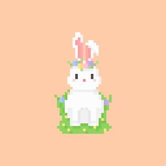 Pixel art de coelho com coroa de flores