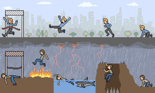 Pixel art de comparação de corrida injusta