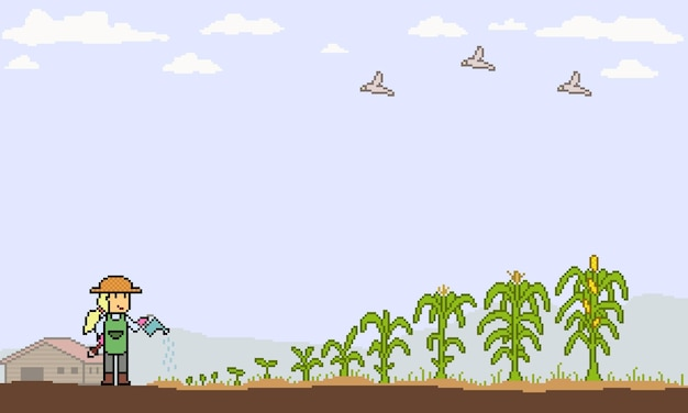 Pixel art de cultivo de milho