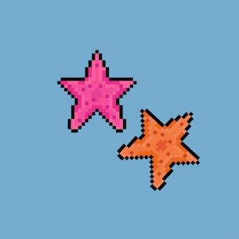 Pixel art de duas estrelas do mar com cores diferentes