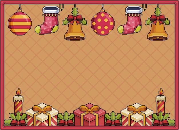 Pixel art de fundo de natal banner 8bit com sinos bolas de natal, velas e meias pixel