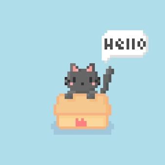 Pixel art de gatinho fofo na caixa