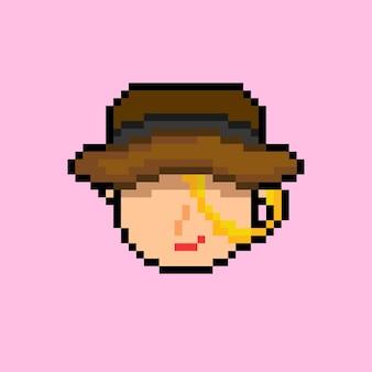 Pixel art de mulher misteriosa com chapéu marrom