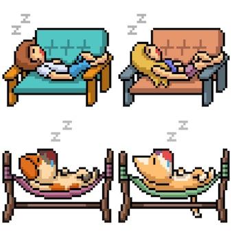 Pixel art de pessoas animais tirando uma soneca isolada no branco