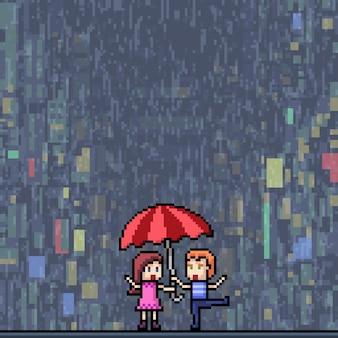 Pixel art de romance em uma ilustração chuvosa