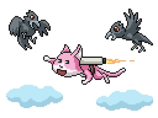 Pixel art de um gato a jato voador