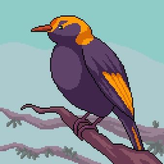 Pixel art de um pequeno pássaro no galho