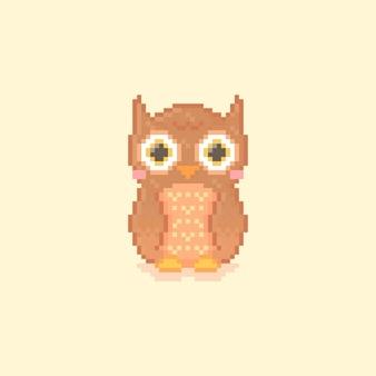 Pixel art de uma coruja fofa