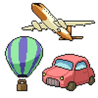 Pixel art de viagem e veículo