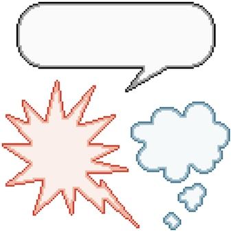 Pixel art definido com balão cômico isolado