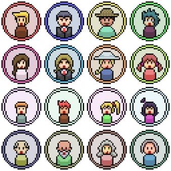 Pixel art definido com ícone de rosto de pessoas isoladas