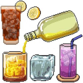 Pixel art definido como bebida gelada isolada