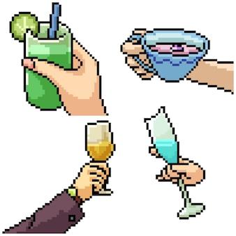 Pixel art definido como uma mão isolada segurando uma bebida