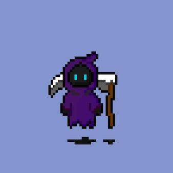 Pixel art do personagem da desgraça com foice