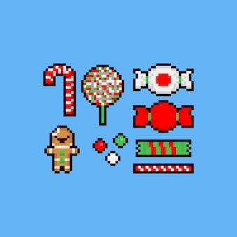Pixel art dos desenhos animados conjunto de ícones de doces de natal.