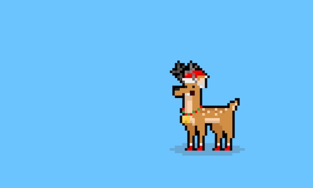 Pixel art dos desenhos animados engraçado personagem raindeer de natal.