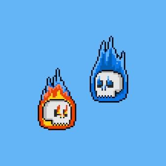 Pixel art dos desenhos animados fogo crânio cabeça fantasma. 8bit. dia das bruxas.