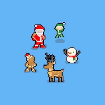 Pixel art engraçado dos desenhos animados conjunto de caracteres de natal