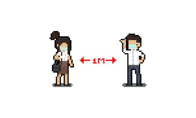 Pixel art homem e mulher personagem fazendo distância social.