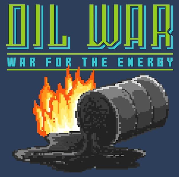 Pixel art inspirado no clássico console de videogame dos anos 80 misturado com mensagens sobre guerra e petróleo.