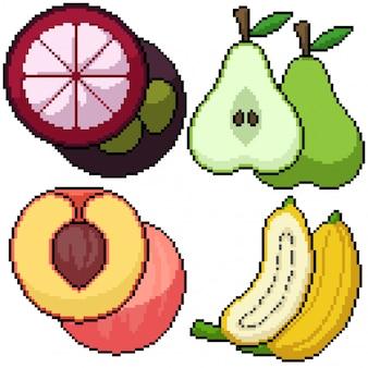 Pixel art isolado frutas corte grupo