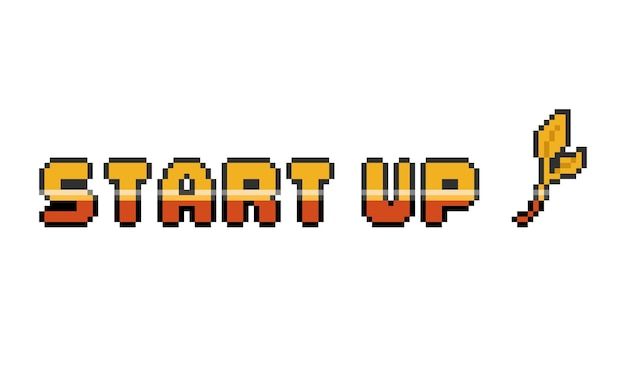 Pixel art ouro inicializar design de texto.