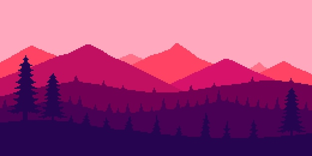 Pixel art paisagem floresta nas montanhas ao pôr do sol com fundo minimalista de 8 bits