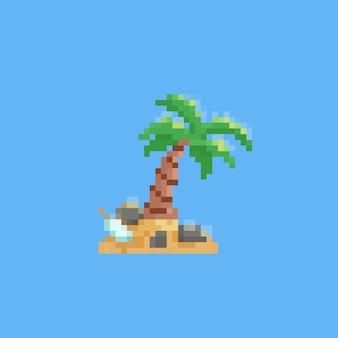Pixel art pequena ilha com garrafa de carta