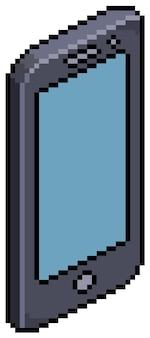 Pixel art smartphone móvel isométrico. item de jogo de bits