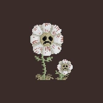 Pixel art tristemente flor personagem