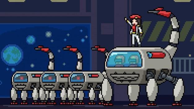 Pixel arte cena espaço exército