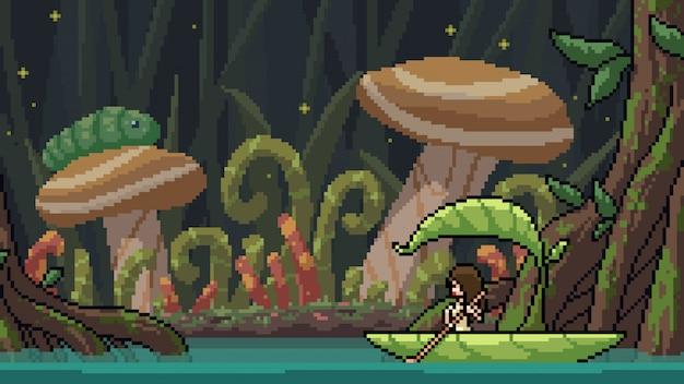 Pixel arte cena fantasia floresta