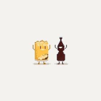 Pixel batata frita e cola mãos para cima