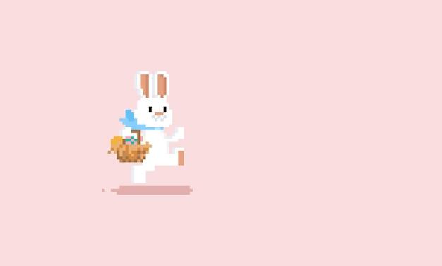 Pixel correndo coelho com cesta de ovos de páscoa