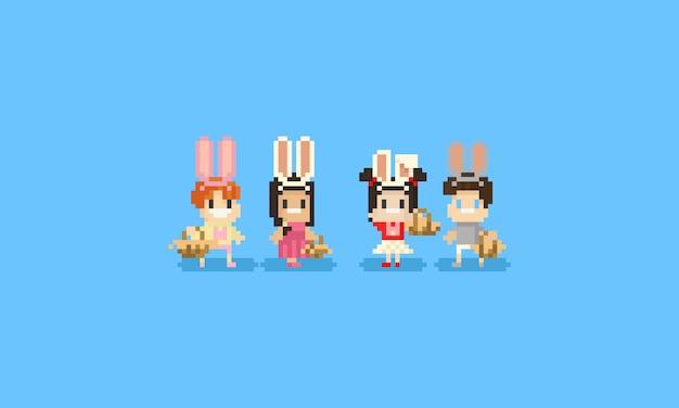 Pixel crianças com orelhas de coelho