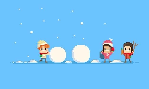 Pixel crianças construindo um boneco de neve