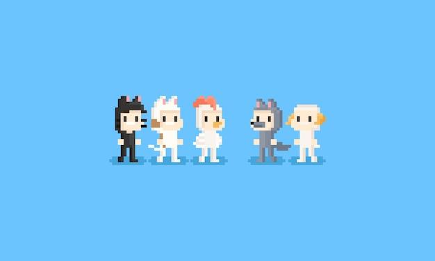 Pixel crianças em traje animal