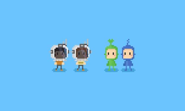 Pixel crianças usando capacetes de astronauta