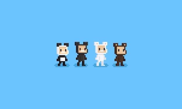 Pixel crianças vestindo fantasia de ursos
