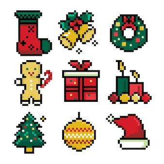 Pixel define ícones de natal para design de decoração de férias
