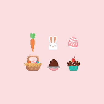 Pixel easter elements set