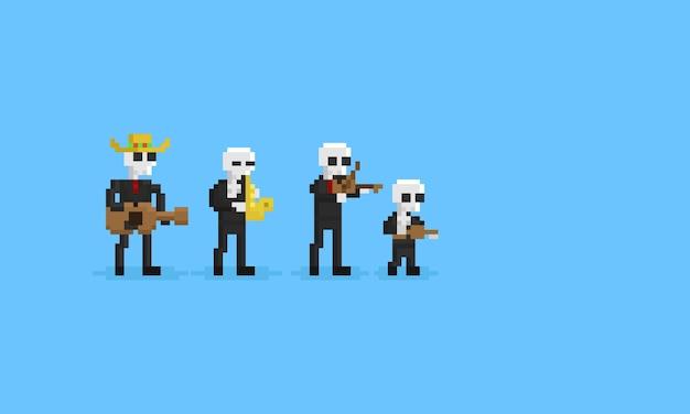 Pixel esqueleto musicain