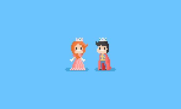 Pixel menino e menina em traje de príncipe e princesa