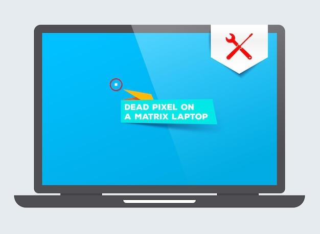 Pixel morto em um laptop de matriz. serviço de manutenção. reparos. peças com defeito de reposição.