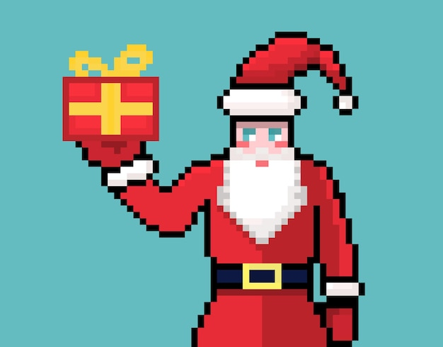 Pixel papai noel com caixa de presente e cartão de natal feriado