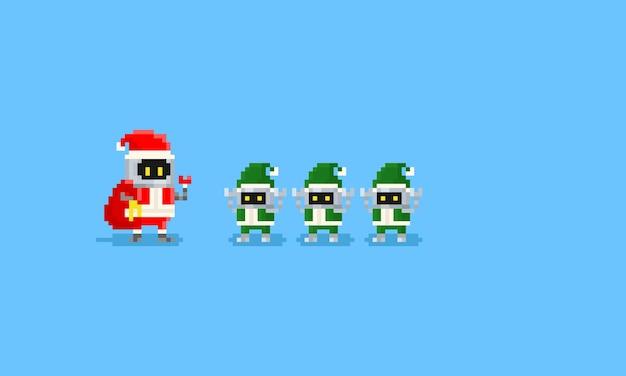 Pixel robô santa e três robô elfo
