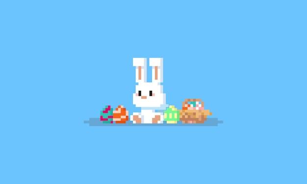 Pixel sentado coelho com ovos de páscoa