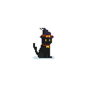 Pixel sentado gato preto usando chapéu de bruxa