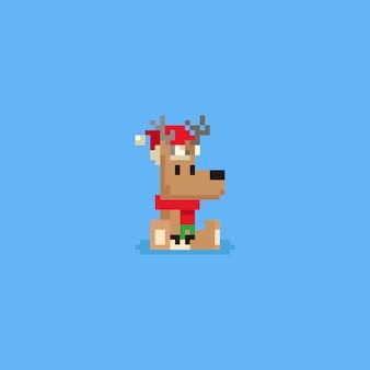 Pixel sentado veado com chapéu de natal e lenço vermelho