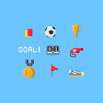Pixel soccer elements.8bit.